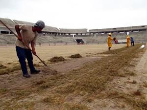 Apenados estão entre os empregados na Arena das Dunas (Foto: Jocaff Souza/G1)