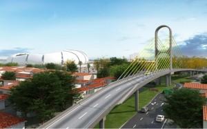 Maquete de um dos viadutos que serão construídos nas imediações do estádio arena das Dunas. (Foto: divulgação)