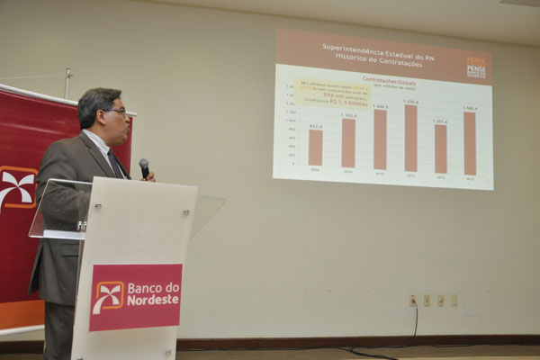 O superintendente do BNB, Francisco Carlos Cavalcante, apresentou ontem o balanço de 2013. (Foto: Magnus Nascimento)