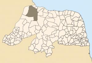 Município de Mossoró em destaque no mapa do RN. (Foto: commons.wikimedia.org )