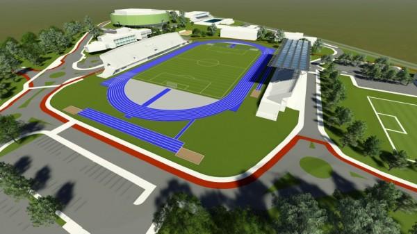 Projeto do Parque Poliesportivo segue em construção. Pista de atletismo já está em funcionamento. (Foto: www.skyscrapercity.com )