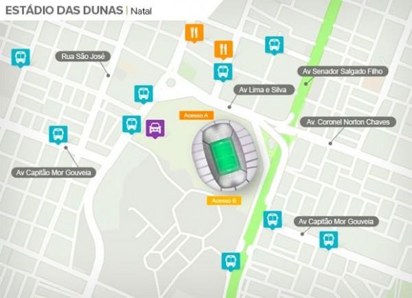 Arena das Dunas fica em área central de Natal (Foto: Foto: Google Maps / Infografia GloboEsporte.com)