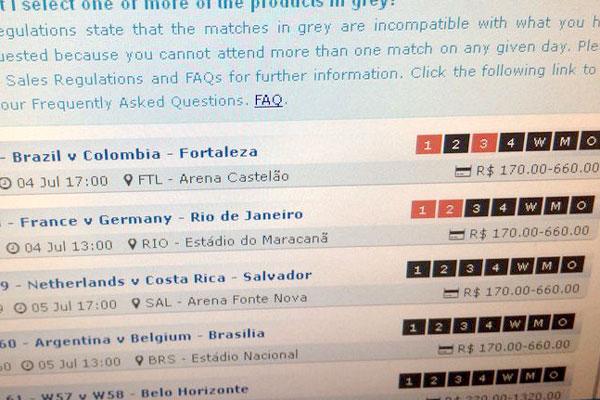 Pela manhã, Fifa disponibilizava ingressos para a partida. (Foto: Reprodução/Site da Fifa)