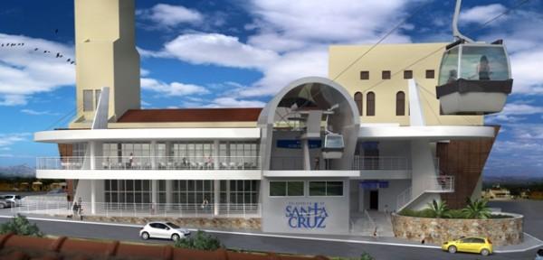 Maquete Eletrônica mostra como será a estrutura do Teleférico de Santa Cruz. (Foto: Divulgação)