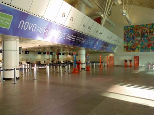 Saguão aeroporto Aluizio Alves, localizado no município de São Gonçalo do Amarante. (Foto: blogdolevanyjunior.com)