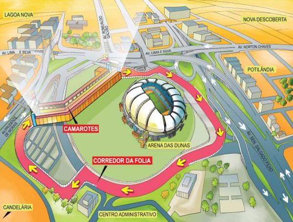 Rota dos foliões passará pelo entorno da Arena das Dunas. Concentração será no Centro Administrativo.