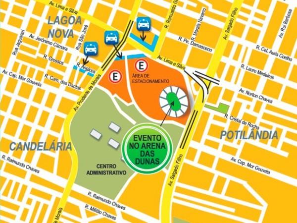 Mudanças serão nos entornos da Arena das Dunas, Árvore de Mirassol e ginásio Nélio Dias (Foto: Reprodução/Prefeitura de Natal)