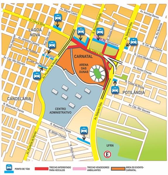 Mapa mostra interdições no trânsito durante o Carnatal 2014 (Foto: Divulgação)