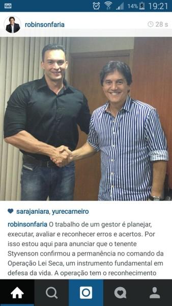 Após reunião, governador Robinson Faria publicou foto do encontro em seu perfil oficial no Instagram