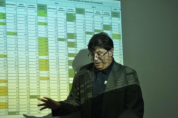 Aldemir Freire, do IBGE, apresentou os dados ruins para a economia do Estado, mas destacou importância dessas informações para planejamento de ações. (Foto: Argemiro Lima)